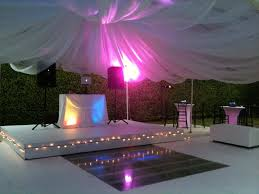 white floor rental stage and floor rentals in miami