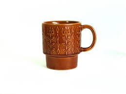 vintage stackable flower power diamonds mod coffee mug retro 70s