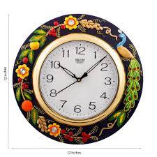 Wooden Wall Clock by Ecraftindia Papier Mache U0026 Wooden Wall Clock Black Clocks