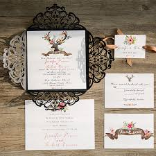 rustic wedding invites black laser cut deer rustic wedding invitation with suede ribbon