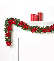 poinsettia and holly garland christmas decorations joann