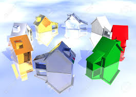 ring of various types of houses in different styles abstract