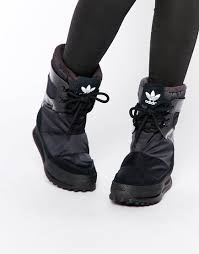 womens leather winter boots canada image 1 of adidas originals snowrush black boots my