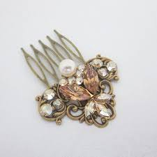 vintage hair combs antique brass hair comb bridal hair comb wedding headpiece