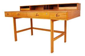peter lovig nielsen danish modern flip top teak desk chairish