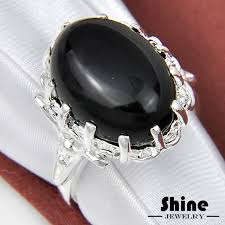 stone rings style images Free shipping wholesale ring black obsidian stone ring style jpg