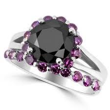 black and pink engagement rings black purple pink diamond halo matching engagement ring set