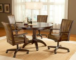 Leather Swivel Dining Chairs Caster Dining Room Chairs Unique Rolling Casual With On Casters