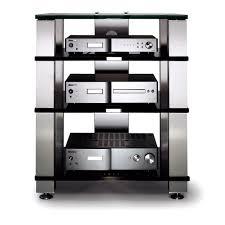 Audio Visual Rack Spectral High End He684 Aluminium Black Glass 4 Shelf Hi Fi Rack