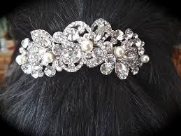 rhinestone hair pearl and rhinestone hair barrette hair accessory barrette