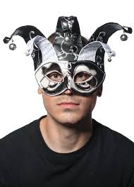 jester masquerade mask black and white dramatic musical jester carnival mask