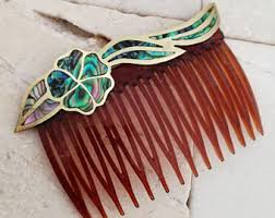 vintage hair combs abalone hair comb etsy