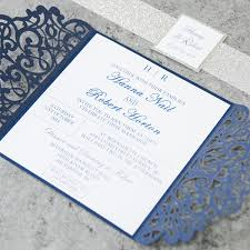 wedding invitations navy fabulous navy blue laser cut wedding invitations with glitter