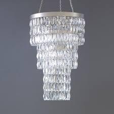 Flat Chandelier Clear Crystal Long Chandelier Tigermoth Lighting