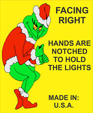 grinch stealing christmas lights right facing grinch steals christmas yard decoration stealing