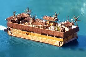 party rental island rent this surreal tikki barge complete with huts and palms