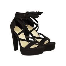 black suede ankle strap lace up platforms block high heels sandals