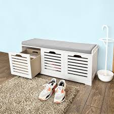 sobuy white storage bench with 3 drawers u0026 removable seat cushion