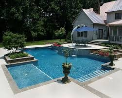 who makes the best fiberglass pool aquaserv pool spa inc rectangular pool with spa and swim out yard