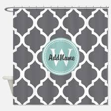 Gray And Teal Shower Curtain Quatrefoil Shower Curtains Cafepress