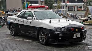 nissan skyline gt r r34 police car caught in action in japan the
