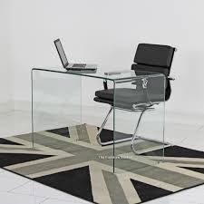 White Glass Desks by Glass Small Clear Glass Desk Eames Style Reception Chair Set
