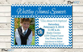 custom blue stripe birthday invitation card for teenager boy with