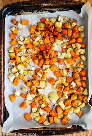 Roots Vegetable Crisps - roasted root vegetable soup with brussels sprout pear topping