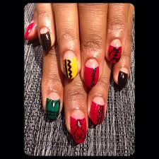 my latest afrocentric nail design from sakura nail and spa in nyc