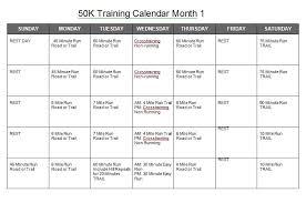 50k training calendar u2014 the grand circle trail race series