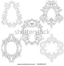 baroque rococo mirror frame decor vector stock vector 551989570
