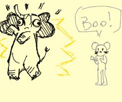 Mouse Man Scares An Elephant Coloring Scares