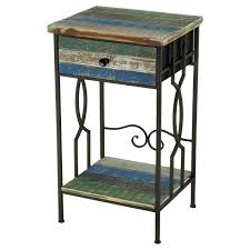 Outdoor Metal Side Table Wood And Metal Side Table With Drawers 16x28 At Home At Home