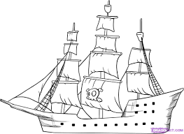traditional pirate ship drawing