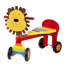 wooden toys personalised wooden toy lion ride on trike by lime tree london