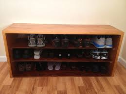 Build Shoe Storage Bench Plans by Brilliant Design Of Diy Shoe Bench Created In Three Levels And