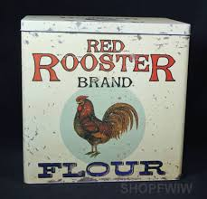 rooster kitchen canisters vintage style red rooster brand flour reproduction tin advertsing