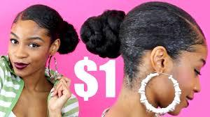 low deep side part braided bun with kanekalon hair natural hair