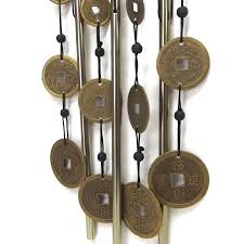 wind chime metal garden ornament feng shui coin bow top empire gifts
