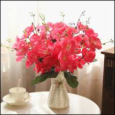 free shipping flowers quality plastic vase silk flowers artificial flower set home