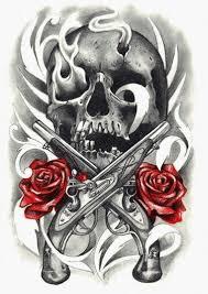 26 best pistol skull tattoo realistic rose images on pinterest