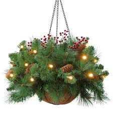 A hanging basket with pine tree branches or any Christmas tree