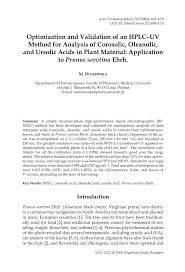 optimization and validation of an hplc uv method for analysis of