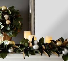 outdoor ornament magnolia garland gold silver pottery barn