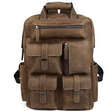 mens travel bag images Men 39 s brown large capacity saddle leather backpack travel bag jpg