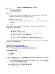 science syllabus homework science
