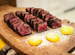 coffee black pepper and salt crusted american wagyu served with