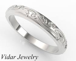 engraved wedding rings leaves engraved wedding band vidar jewelry unique custom