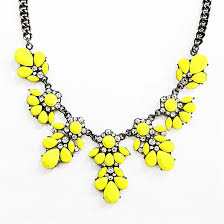 yellow necklace images Neon bib necklace yellow floral necklace made of stone clusters jpg
