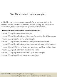 top 8 hr assistant resume samples top 8 hr assistant resume samples